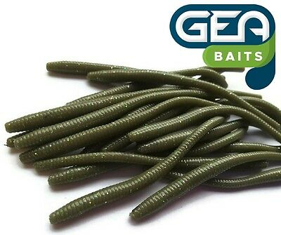 HOT NEW!!! OLIVE Trout Worm Earthworm Sea Fishing Soft Lures Tackle Baits 8cm