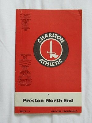 Football Programme Charlton v Preston 1969/70