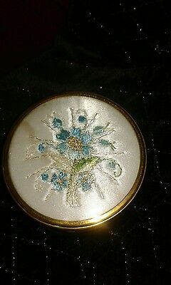 vintage brass trinket box with silk embroidered lid