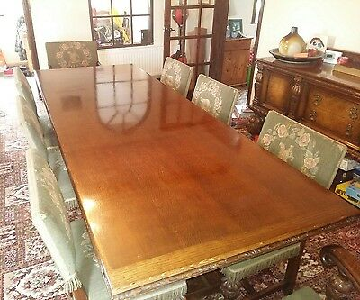 Large Antique Carved Oak Refectory Table 8ft inc 6 Chairs and 2 Carvers