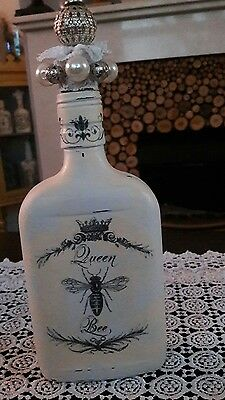 shabby chic  painted bottle