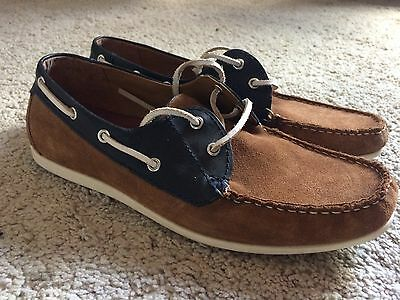 Mens Burton Brown And Blue Lace Up Boat Deck Shoes Size 7 1/2