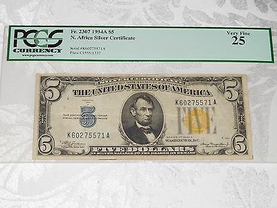 FR 2307 1934A $5 North Africa Silver Certificate PCGS 25