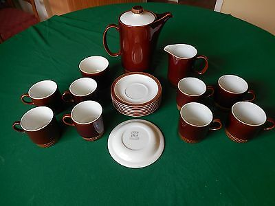 Poole Pottery Chestnut Coffee Set For 8