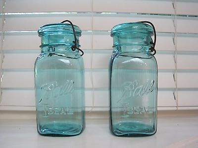 Antique 'Ball Ideal' Bale Wire Canning Jars, Rare Square Shape Ca 1923-1933