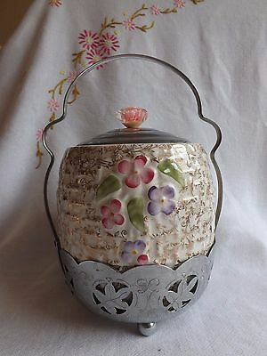 Beautiful Vintage Wade Hand Painted Biscuit Barrel With Chrome Stand