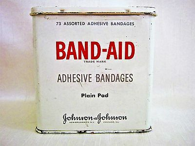 Vintage Band-Aid Tin Metal Box 1970s Plain Pad Band Aid VGC