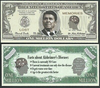 Alzheimer's Awareness Reagan Million Dollar Funny Money Novelty Note +FREE SLEEV