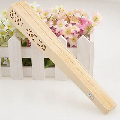 Hollow Flower Wedding Carved Hand Folding Fan Chinese Style Bamboo Wooden