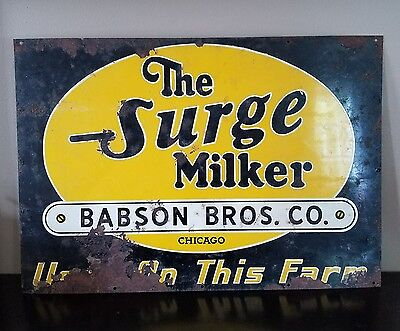 Vintage ORIGINAL SURGE MILKER DAIRY FARM ADVERTISING SIGN TIN Babson Bros co.