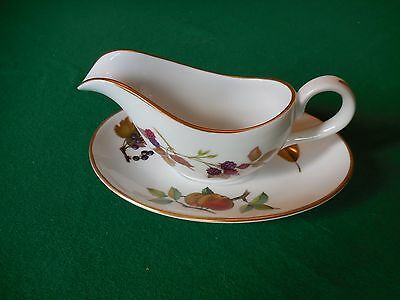 Royal Worcester Evesham Gold Small Sauceboat And Saucer