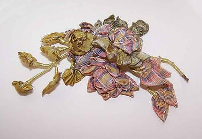1920s FRENCH RIBBONWORK/Variegated Ribbon/Floral Spray/ Applique/Ribbon Flower!