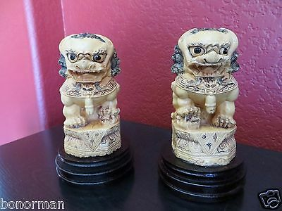 Old Chinese Export Pair Foo Dogs Hand Carved Statue Figurines Wood Stand