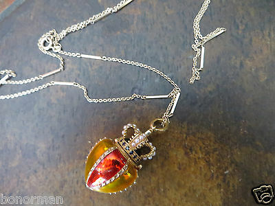 """Russian Style Crown Box Sterling Enamel Real Stones/Seeds Pearl necklace 32"""""""