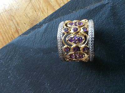 Pink Sapphire, White Topaz Ring  In 14K Gold Overlay Sterling Silver Size P