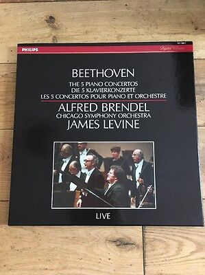 Beethoven 5 Piano Concertos Brendel/Levin Philips Digital Stereo ED1 411 189-1