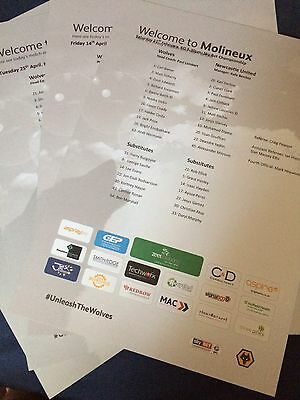 Wolves Wolverhampton  Championship 2016/17 Teamsheet Collection Exc