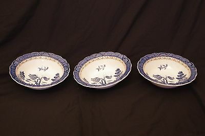 Group 3 Old Royal Willow Pattern Bowls Booths A8025 stock code 3441
