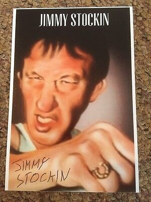 Jimmy Stockin Hand Signed 6x4 Bare Knuckle Boxer Boxing Gypsy Cartoon