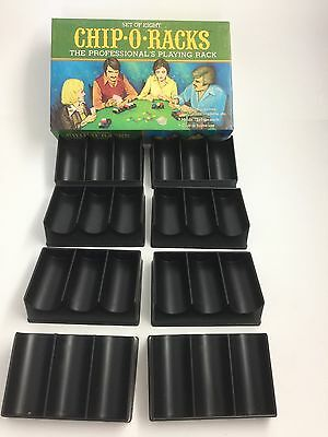 Set of 8 Vintage Plastic Poker Chip-O-Racks by Pacific Game Co 1977 Free Ship!