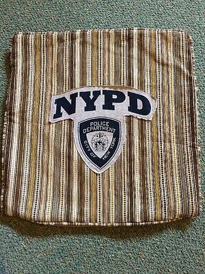 """POLICE DEPT. CITY OF NEW YORK NYPD PILLOW Cover Gray & NAVY BLUE - 20"""" x20"""" Fun!"""