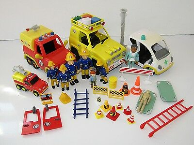 Fireman Sam Toy Bundle Fire Truck, Jeep, Ambulance 7 Figures and Accessories