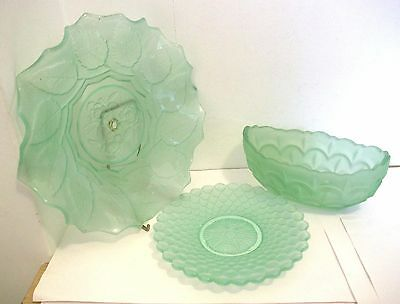 3 pieces vintage 1930s GREEN  Glass plates boat vase