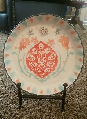 World Market Ceramic Plate Floral with Stand
