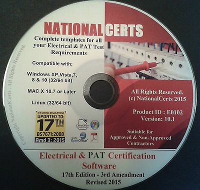 ELECTRICAL & PAT TESTING CERTIFICATES, 17th ED EIICR LAVPIR NICEIC NAPIT ECA