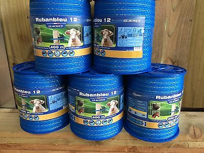 ELECTRIC FENCE TAPE - 12mm Blue 400m Fencing Horse Strip Grazing