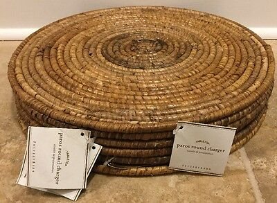 "NEW 6PC Pottery Barn Paros Round Charger Rattan Brown Natural 14"" Circle"