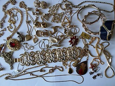 Job lot nice gold tone costume jewellery earrings chains bangles necklaces U