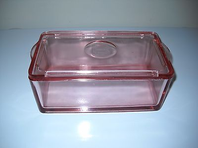"""RARE Pink Jeannette 2 lb. BUTTER DISH w/embossed """"B"""""""