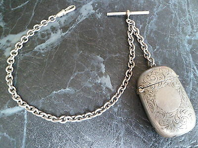 Antique Silver Plated Albert Pocket Watch Chain And Vesta Match Case