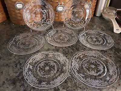 Seven (7) FOSTORIA ROMANCE 6 1/8 Bread & Butter Plates Ribbons Bows Flowers