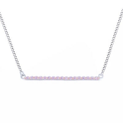 Sapphire Bar Necklace 18K White Gold Over Sterling Silver