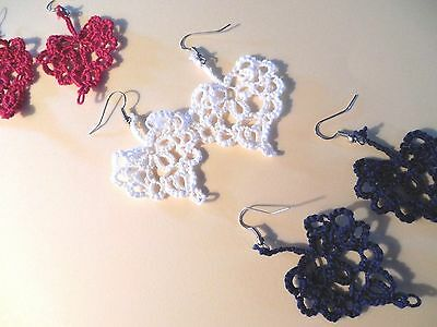 """Tatted Heart Earrings Dove Country Tatting Red White Blue USA Small 1 1/2"""""""