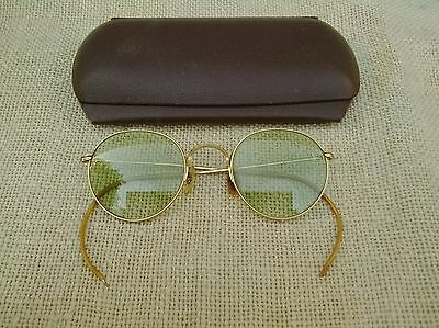 Antique Bausch & Lomb B&L 1/10 12GF Gold Filled Green Tinted Bifocal Eyeglasses