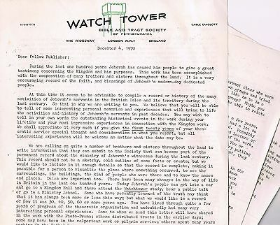 Watch Tower - history letter of 4 December 1970