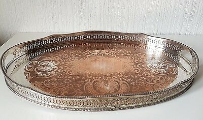 Vintage Fine Large Oval Silver On Copper Tray
