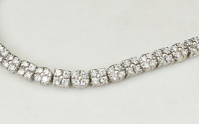 Vintage 18K White Gold & White Diamond Flowers Tennis Bracelet