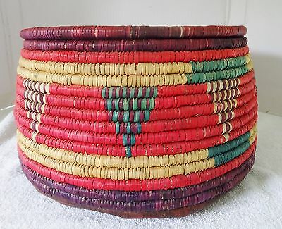 """Vintage African Tribal Hand Woven Basket With Lid 14"""" Diameter"""