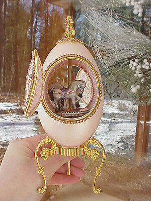 REAL Decorated Carved Goose Egg Horse Carousel Music Box Collectible Pink Flower