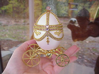 REAL Hand Decorated Carved Goose Egg Trinket/Keepsake Music Box Pink Carriage