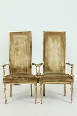 PAIR OF HOLLYWOOD REGENCY HIGH BACK CHAIRS IN THE LOUIS XVI STYLE, V... Lot 489A