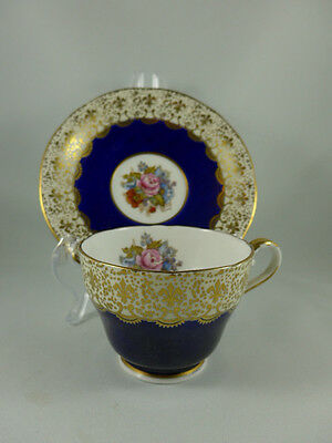 Vintage Aynsley  China Colbalt Blue footed Cup and Saucer