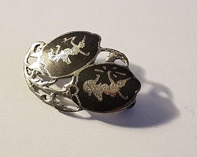 Wonderful Thai sterling silver niello brooch. Metal detecting beach find