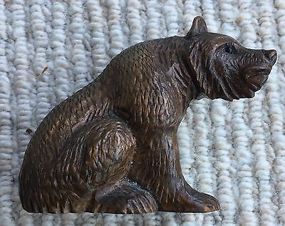 Vintage Small Carved Wood Black Forest Bear Treen Wooden Figure