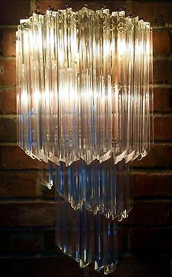PAIR - MURANO VENINI Crystal Glass Spiral Wall Sconce Chandelier TRIANGLE Drops