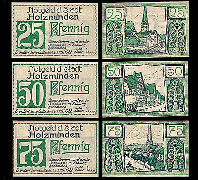 Germany Holzminden Notgeld / Full Set of Three 25Pf 50Pf and 75Pf Notes UNC